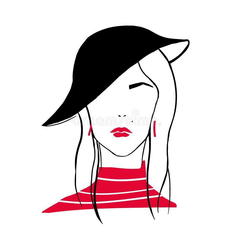 Ritratto del profilo della ragazza alla moda Disegno stilizzato della testa o del fronte della donna alla moda con le labbra ross illustrazione di stock