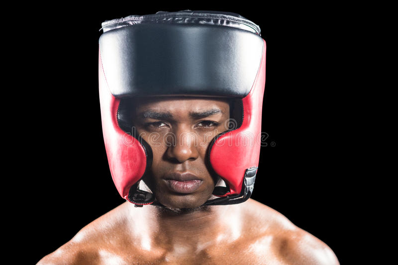 Ritratto del pugile con il casco immagini stock libere da diritti