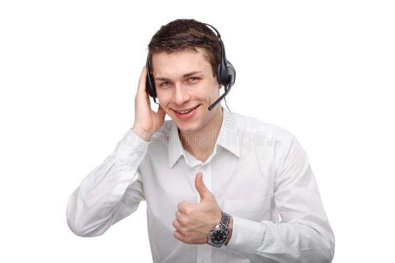 Ritratto del rappresentante o della call center maschio di servizio di assistenza al cliente fotografie stock libere da diritti