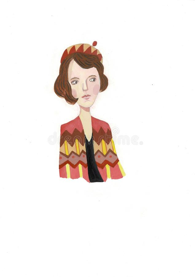 Ritratto del ` s della ragazza Illustrazione dipinta a mano dell'acquerello royalty illustrazione gratis
