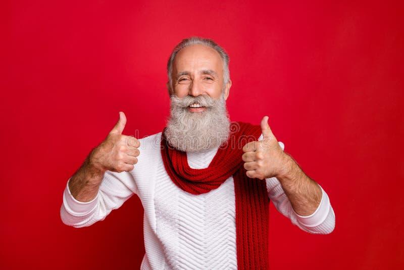 Ritratto del suo bel contenuto sicuro di sé, allegro e allegro, con i capelli grigi che mostrano due pollici di pubblicità immagini stock