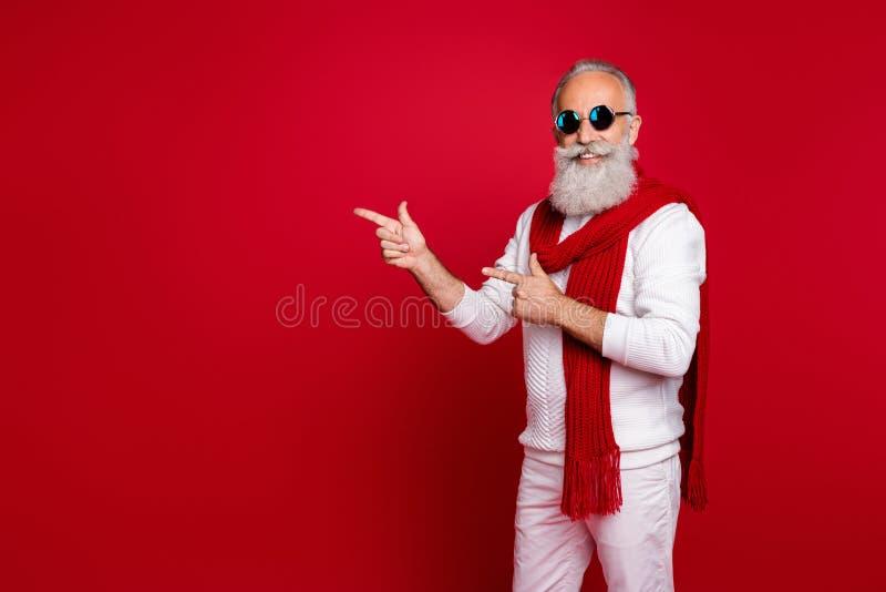 Ritratto del suo bell'affascinante e allegro uomo di classe con la barba grigia, con i capelli grigi, che mostra un'immagine dell immagine stock