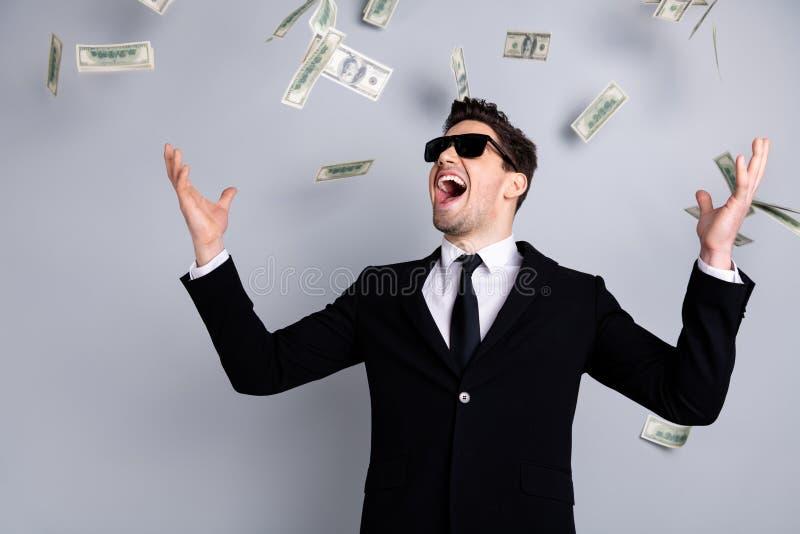 Ritratto del suo lui direttore allegro attraente elegante piacevole dell'economista del banchiere del finanziere del capo vendite immagine stock libera da diritti