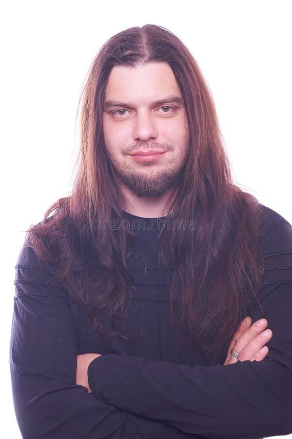 Ritratto del tizio con capelli scorrenti immagine stock