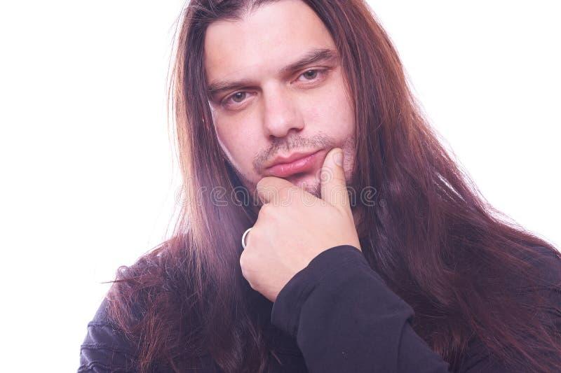 Ritratto del tizio con capelli scorrenti immagini stock
