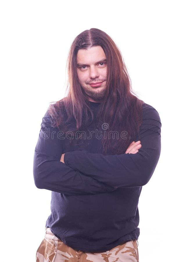 Ritratto del tizio con capelli scorrenti fotografia stock