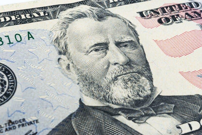 Ritratto del Ulysses S Grant affronta sui dollari di macro della fattura degli Stati Uniti cinquanta o 50, primo piano dei fondi  fotografie stock libere da diritti