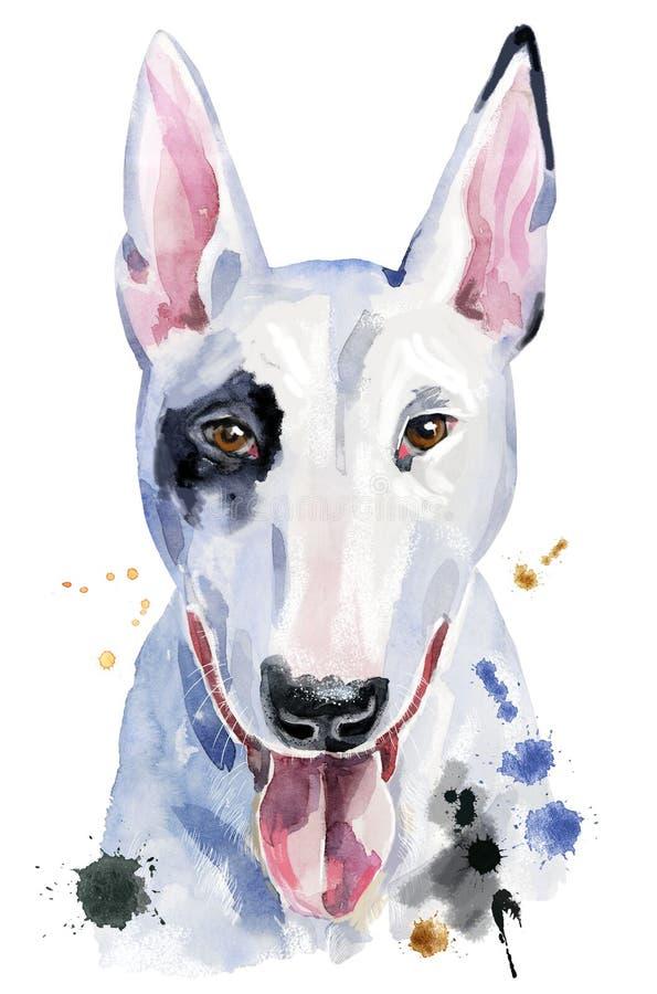 Ritratto dell'acquerello di bull terrier royalty illustrazione gratis