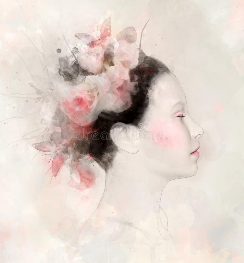 Ritratto dell'acquerello di una donna con le rose rosa illustrazione vettoriale