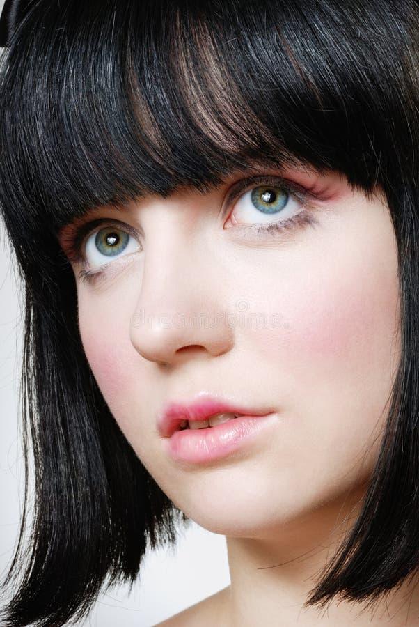 Ritratto dell'adolescente con trucco della bamboletta. fotografia stock libera da diritti
