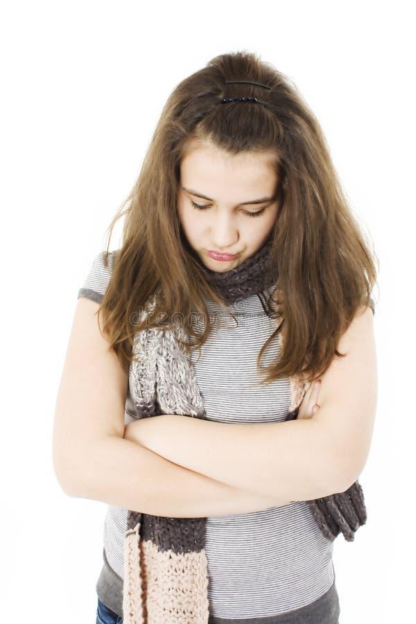 Ritratto dell'adolescente infelice fotografia stock libera da diritti