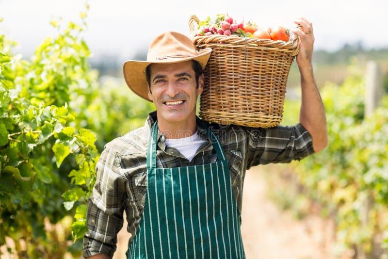 Ritratto dell'agricoltore felice che porta un canestro delle verdure fotografia stock libera da diritti