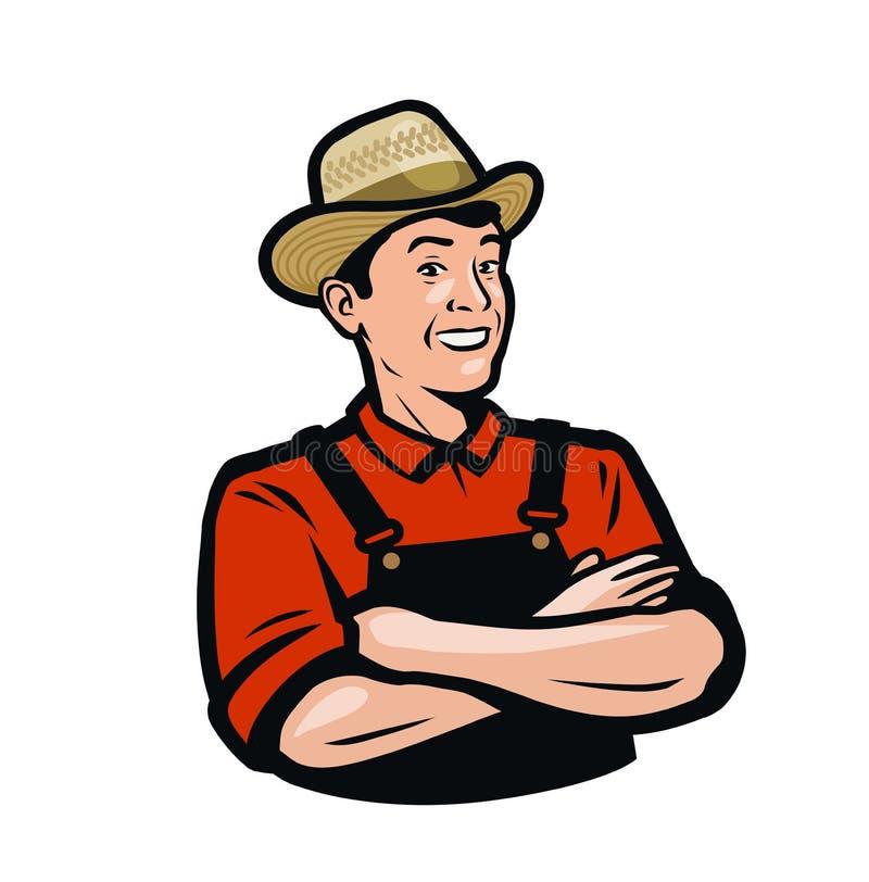 Ritratto dell'agricoltore, logo di prodotti biologici Agricoltura, vettore agricolo illustrazione di stock