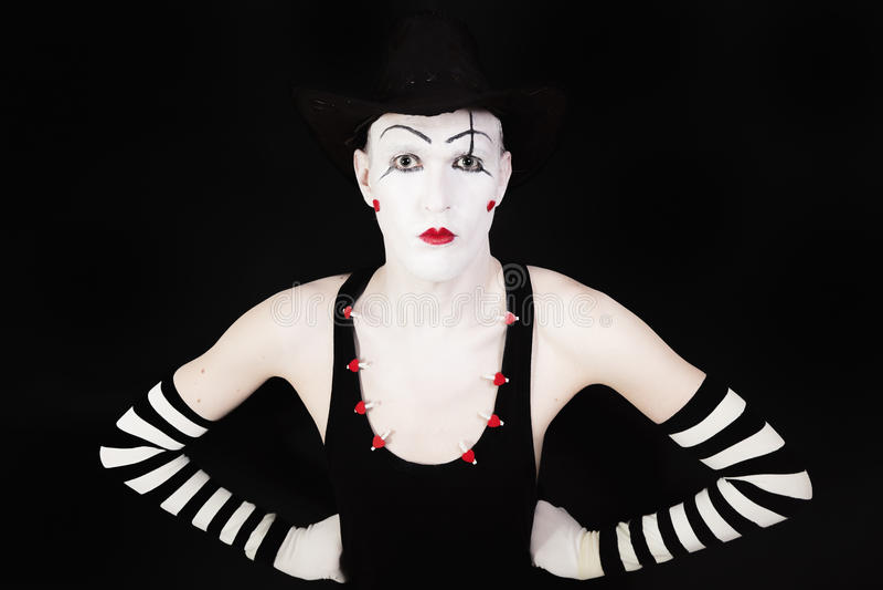 Ritratto dell'attore di pantomimo con trucco fotografia stock libera da diritti