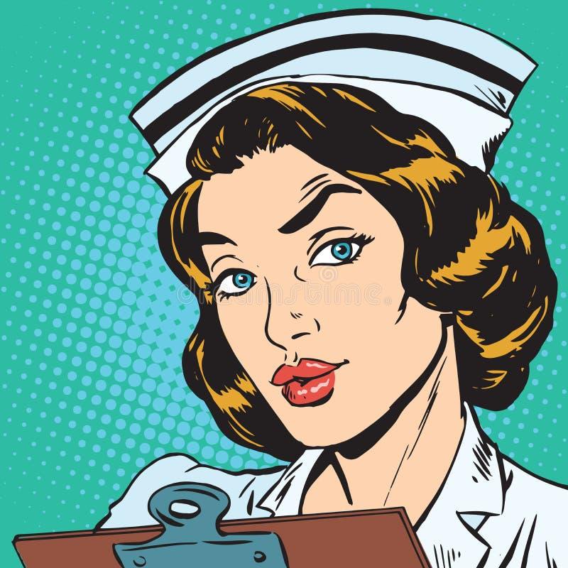 Ritratto dell'avatar di retro infermiere illustrazione vettoriale