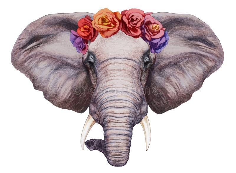 Ritratto dell'elefante con la corona capa floreale illustrazione vettoriale