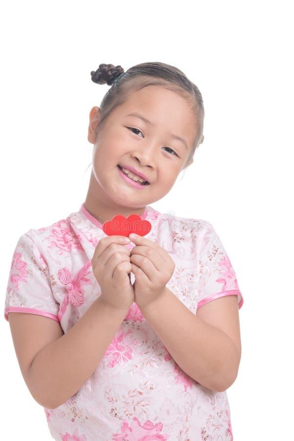 Ritratto dell'età sveglia del bambino asiatico della ragazza 7 anni su fondo bianco immagine stock libera da diritti