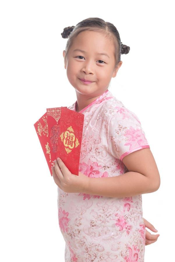 Ritratto dell'età sveglia del bambino asiatico della ragazza 7 anni su fondo bianco fotografia stock