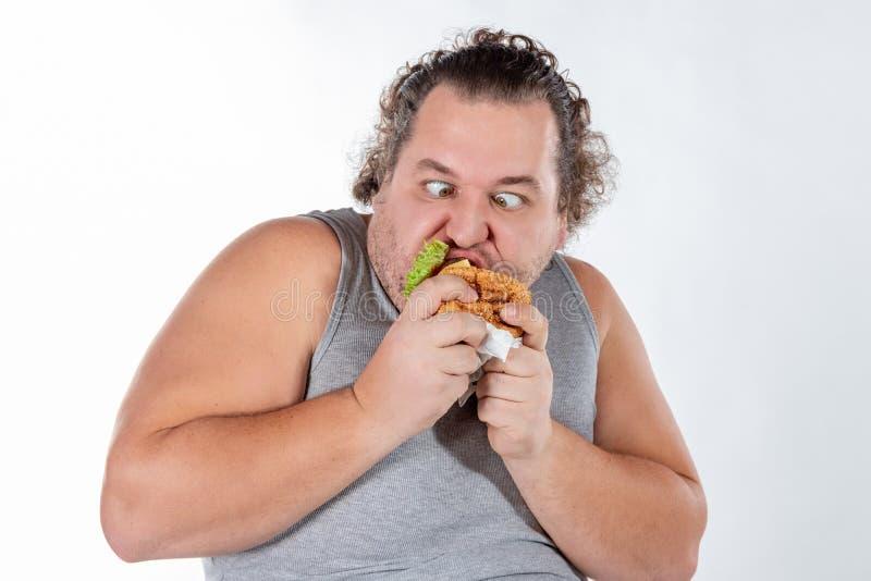 Ritratto dell'hamburger mangiatore di uomini grasso divertente degli alimenti a rapida preparazione isolato su fondo bianco fotografie stock libere da diritti