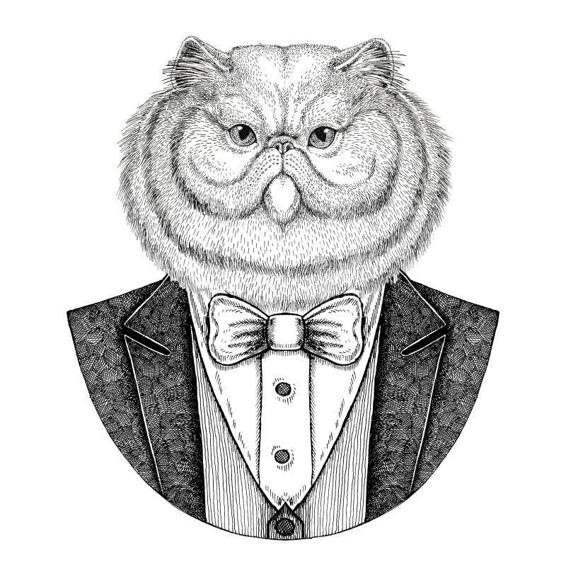 Ritratto dell'illustrazione disegnata a mano animale dei pantaloni a vita bassa lanuginosi del gatto persiano per il tatuaggio, e illustrazione vettoriale