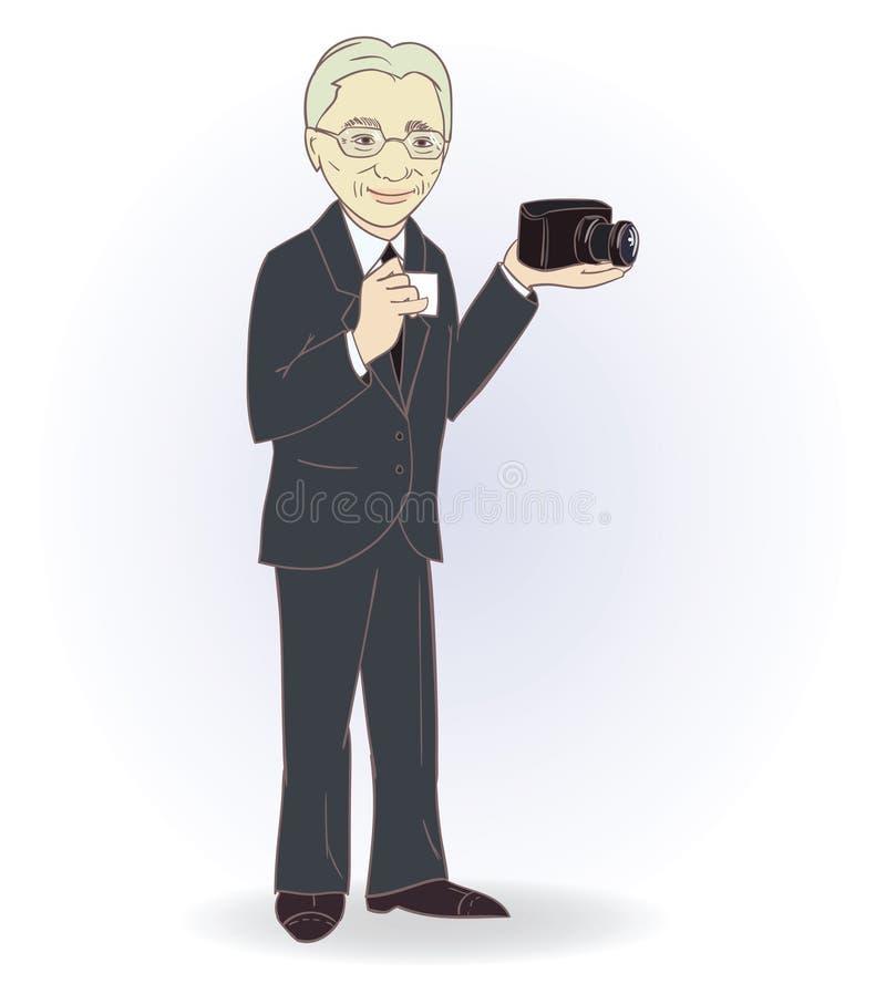 Ritratto dell'uomo anziano con la retro macchina fotografica Vettore immagine stock libera da diritti