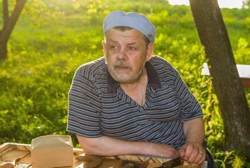 Ritratto dell'uomo anziano premuroso - apicoltore fotografia stock libera da diritti