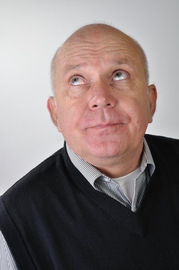 Ritratto dell'uomo con l'espressione divertente fotografie stock
