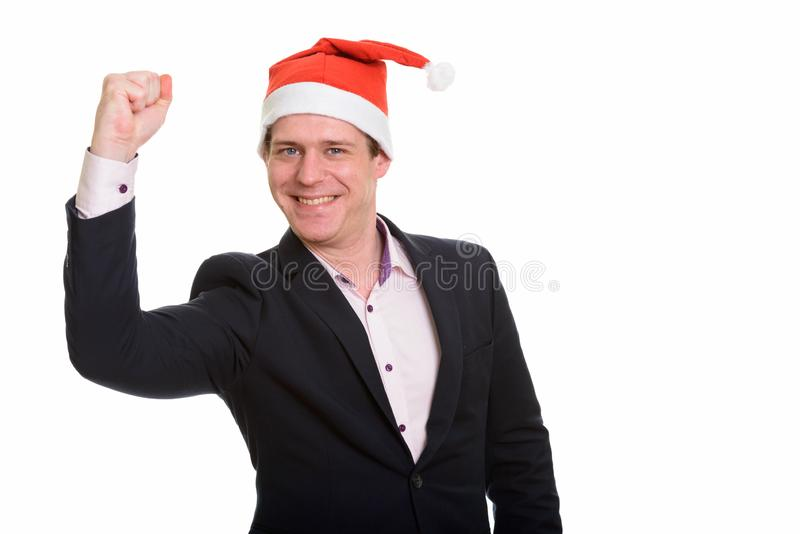 Ritratto dell'uomo d'affari caucasico bello felice che sembra motivato immagini stock