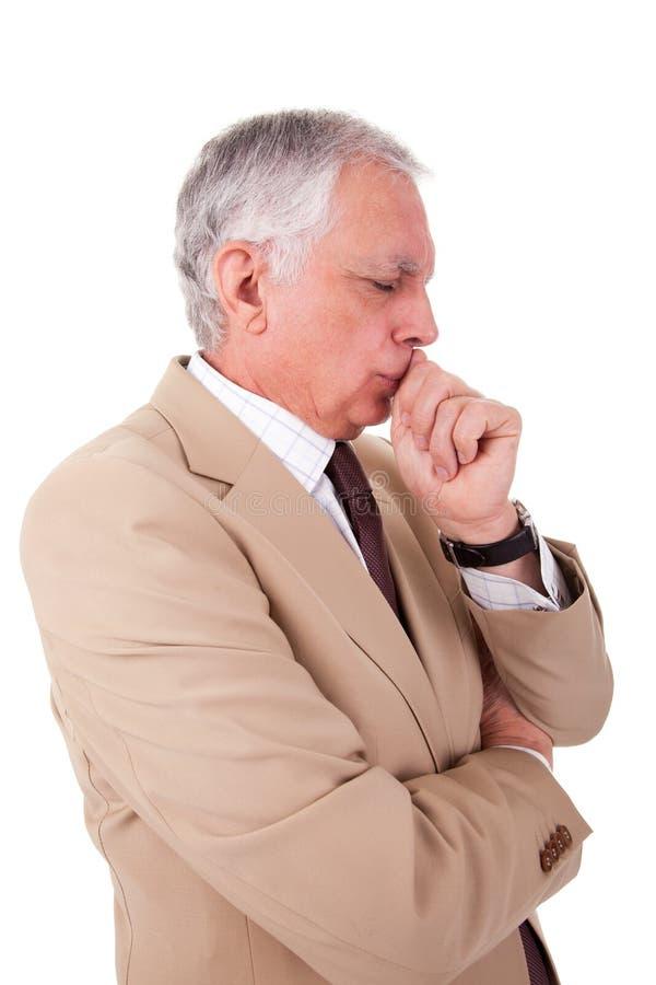 Ritratto dell'uomo d'affari maturo bello, pensante fotografie stock libere da diritti