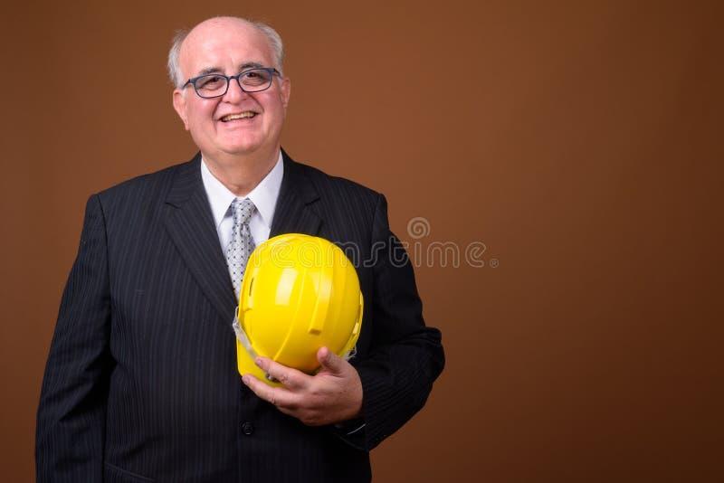Ritratto dell'uomo d'affari senior di peso eccessivo con l'elmetto protettivo fotografie stock libere da diritti