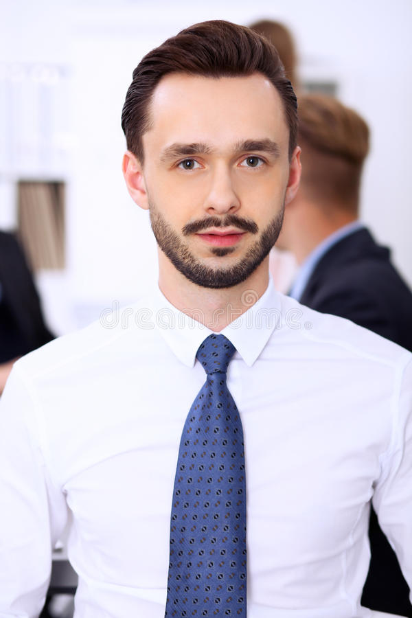 Ritratto dell'uomo d'affari sorridente allegro fotografia stock
