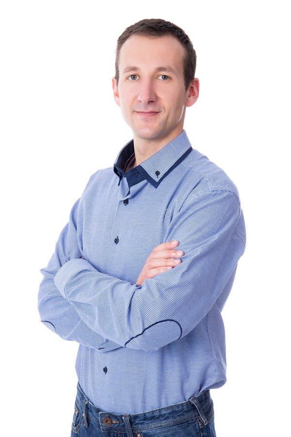 Ritratto dell'uomo di affari isolato su bianco immagini stock