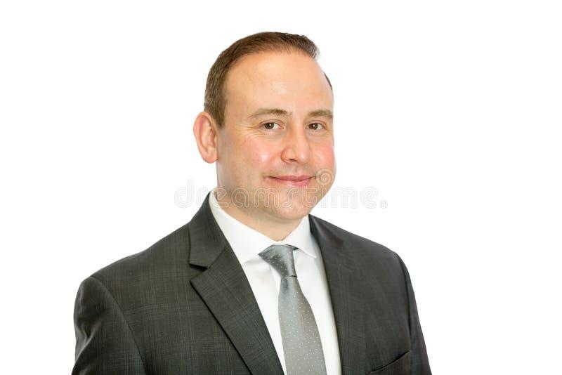 Ritratto dell'uomo di affari maturi con lo spazio bianco della copia immagini stock