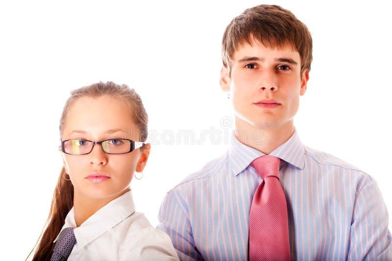 Ritratto dell'uomo e della donna, è isolata. fotografie stock