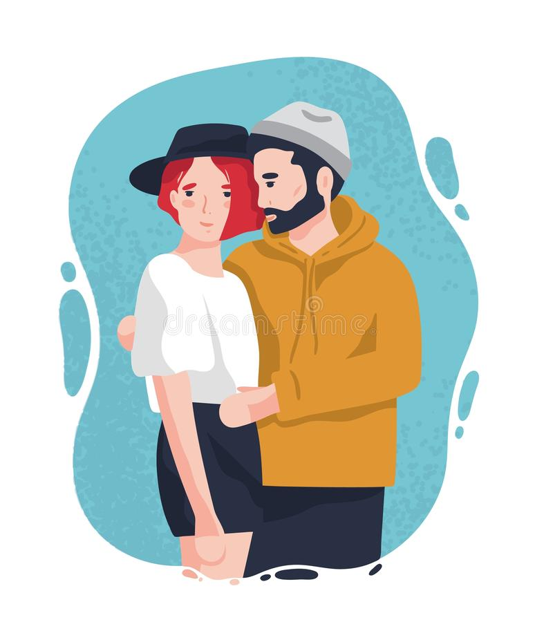 Ritratto dell'uomo e della donna adorabili in attrezzature d'avanguardia che stanno insieme e che abbracciano Coppie moderne sveg illustrazione vettoriale
