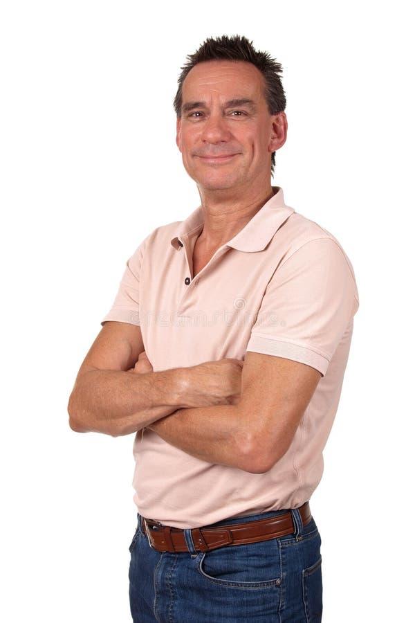 Ritratto dell'uomo Relaxed sorridente attraente fotografie stock libere da diritti