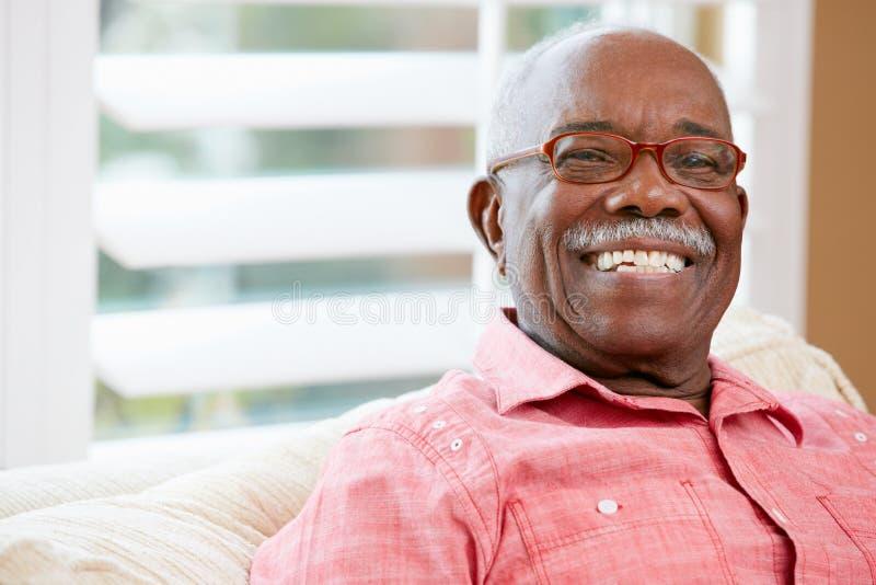 Ritratto dell'uomo senior felice a casa fotografie stock