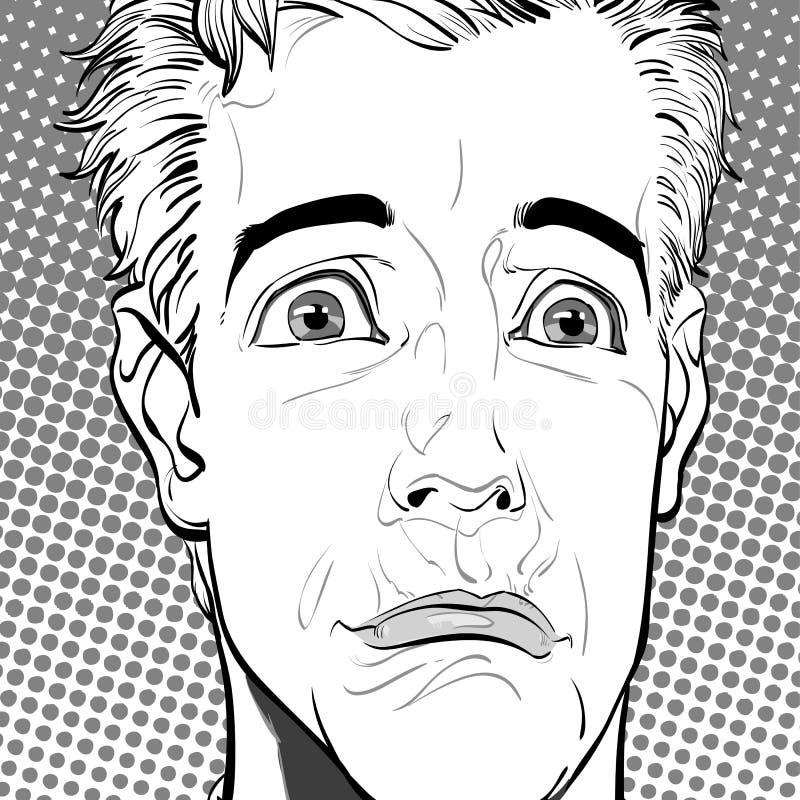 Ritratto dell'uomo triste tristezza Uomo sorpreso Idea di concetto della pubblicità e del promo Retro illustrazione di stile di P illustrazione di stock