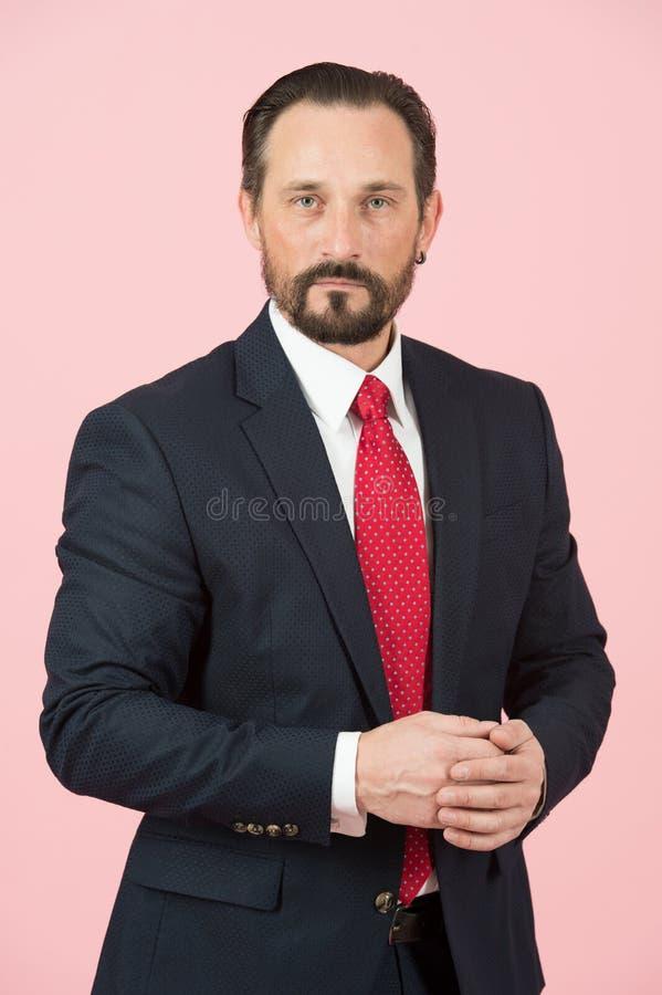 Ritratto dell'uomo in vestito blu con le mani chiuse Uomo d'affari barbuto in vestito nero sul fondo di rosa pastello isolato in  fotografia stock libera da diritti