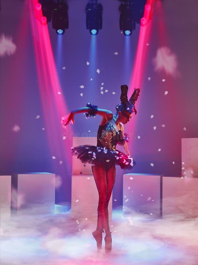 Ritratto della ballerina nel ruolo di un cigno nero immagini stock libere da diritti
