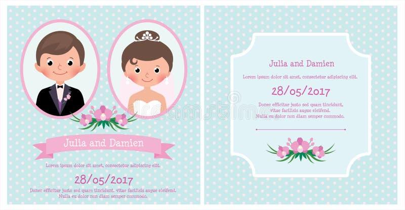 Ritratto della carta dell'invito di nozze delle persone appena sposate sposa e sposo illustrazione di stock