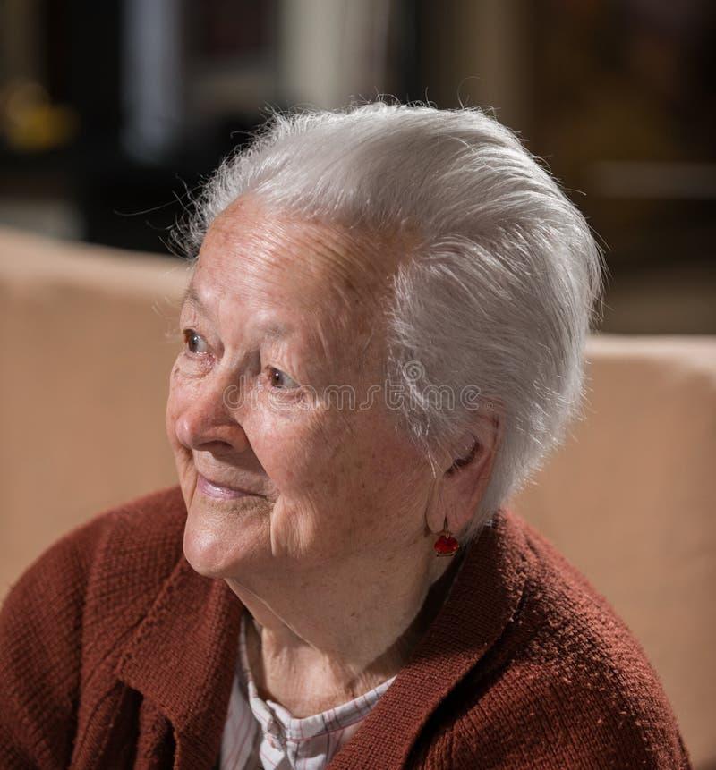 Ritratto della donna anziana dai capelli grigi sorridente fotografie stock