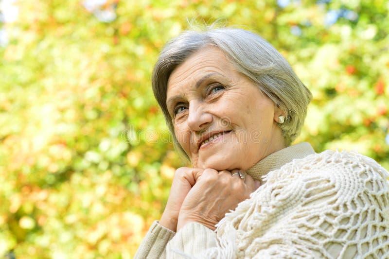 Ritratto della donna anziana sorridente piacevole che posa nella foresta fotografia stock libera da diritti