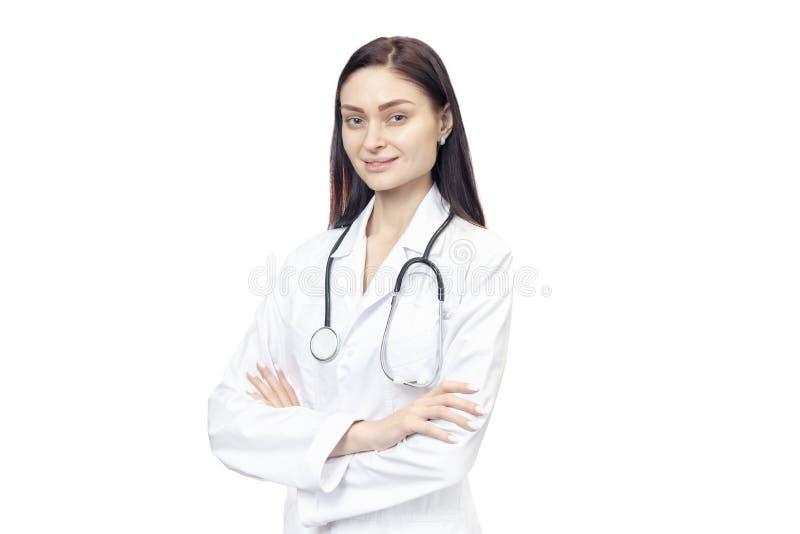 Ritratto della donna in cappotto del laboratorio di medico fotografie stock libere da diritti