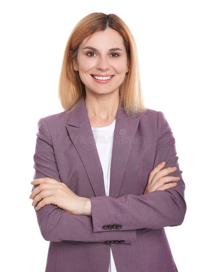 Ritratto della donna con il bello fronte su bianco fotografia stock libera da diritti