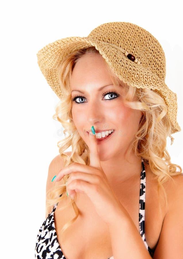 Ritratto della donna con il cappello immagine stock libera da diritti