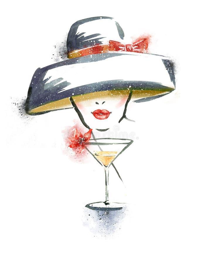 Ritratto della donna con il cappello ed il cocktail illustrazione vettoriale