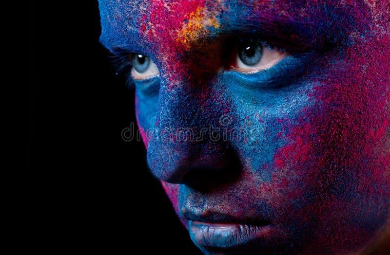Ritratto della donna con trucco della vernice immagine stock libera da diritti