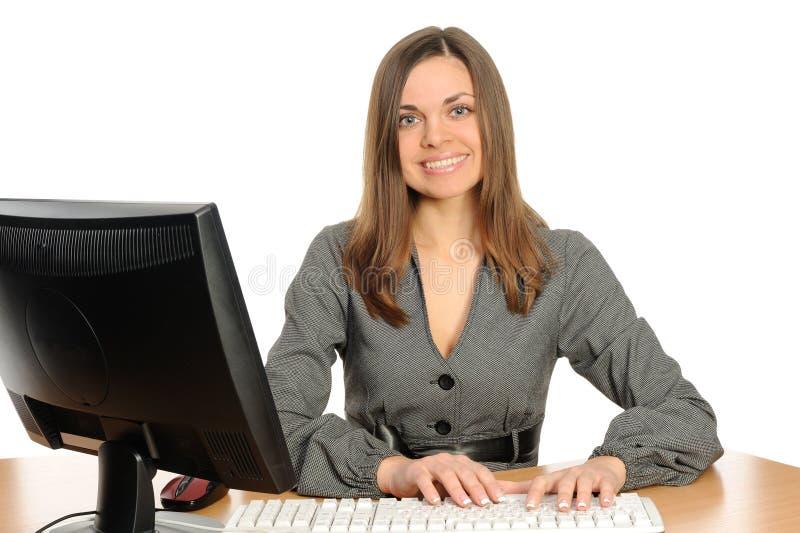Ritratto della donna con un calcolatore. fotografia stock libera da diritti