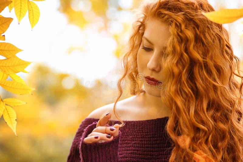 Ritratto della donna dai capelli rossi con le foglie gialle, umore di autunno fotografia stock libera da diritti